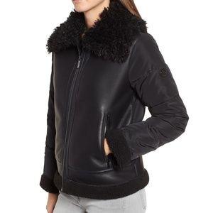 Bernardo Faux Shearling Hybrid Jacket Coat